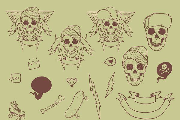 Old School Skateboarding Vector Pack by hwgraphics on @creativemarket