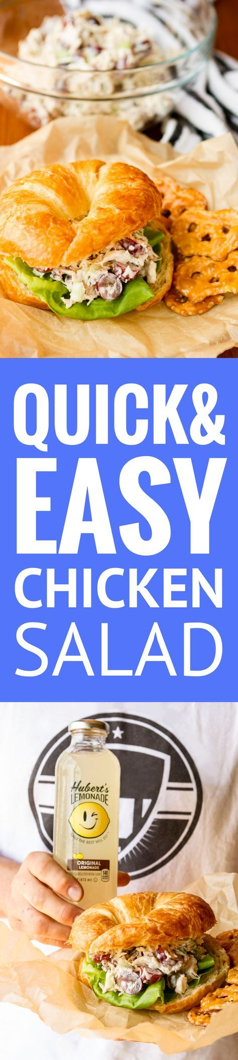 Easy Chicken Salad -- this easy chicken salad recipe, filled with fresh grapes and roasted pecans, makes a quick, delicious, and satisfying meal! I like it heavy on the grapes for a satisfying burst of sweet and juicy flavor in every bite... | chicken salad with grapes | healthy chicken salad | chicken salad sandwich | classic chicken salad | chicken salad with Greek yogurt | find the recipe on unsophisticook.com