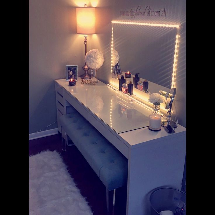 Lit up vanity mirror and table. Everything included was bought at ikea, marshals, Ross, TJ Max and Home Goods