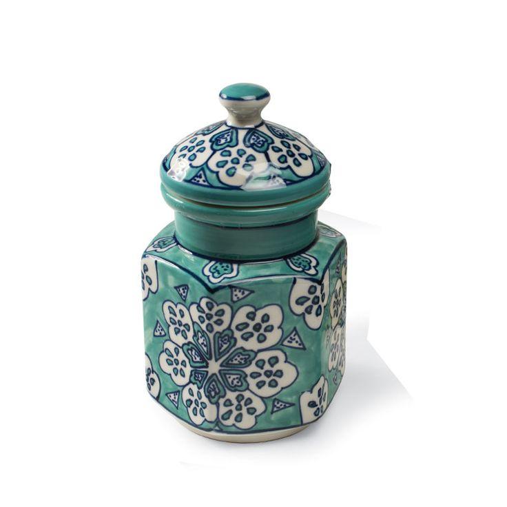 Kryddburk i handmålad keramik, Blå 9x9x16cm