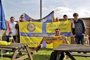 Yellow army!Farnborough fans enjoying an away day at Needham Market FC Photograph: DonBlandford/GuardianWitness