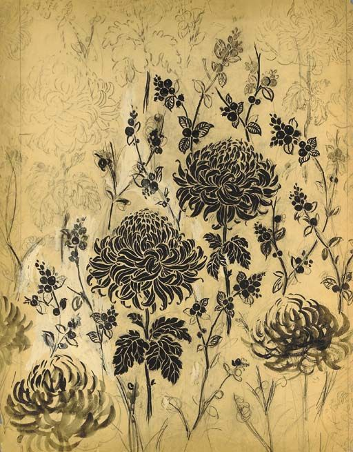 Raoul Dufy, a design of chrysanthemums and berries, in pencil, pastel and black and white bodycolour on paper - 79 x 57cm.