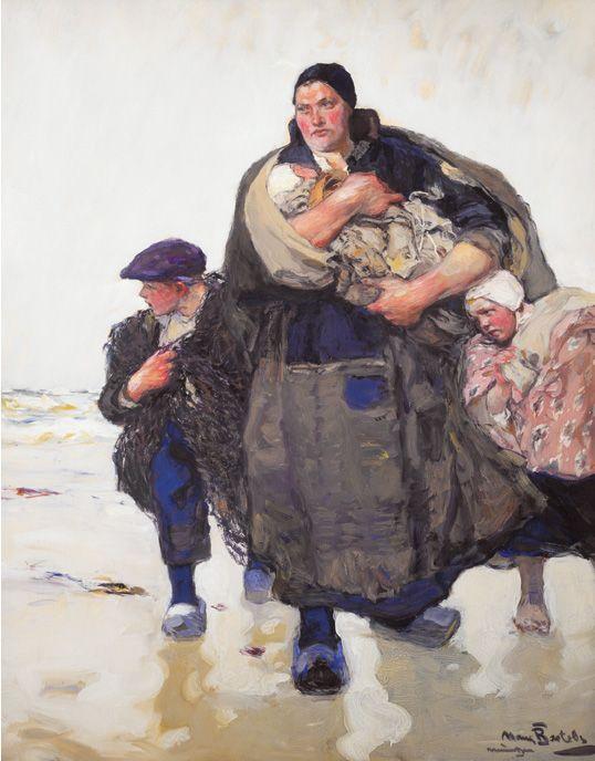 """""""Frau mit drei Kindern"""" Hans von Bartels, 1856-1913"""