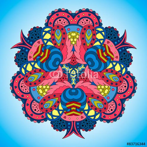 Вектор: Blue-pink mandala on blue background.