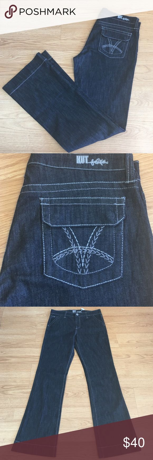 Kut denim jeans Kut jeans, medium rise, dark wash, size 10, five pocket, 34 inch inseam Kut from the Kloth Jeans Flare & Wide Leg