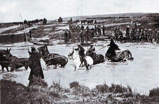 13-mule-drawn-cart over a drift