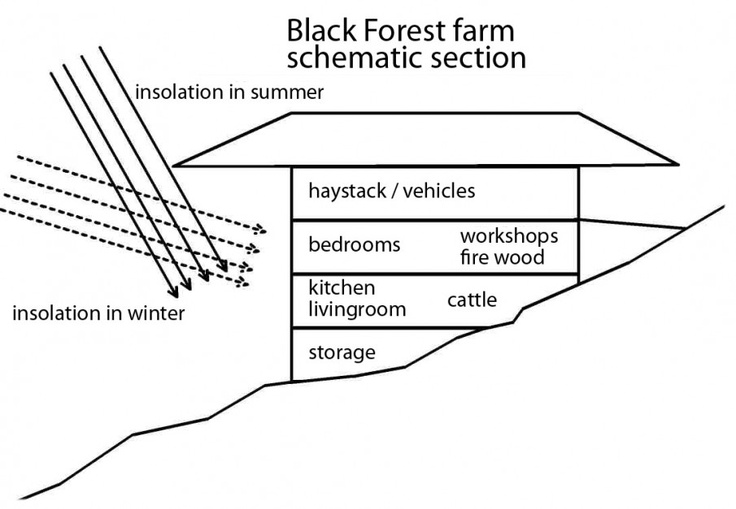 Schematic Cross Section Black Forest House Forest House Black Forest