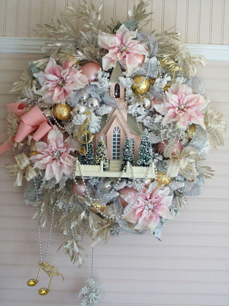 Shabby Pink Christmas Flocked Poinsettias Church Bottle Brush Trees Ornaments