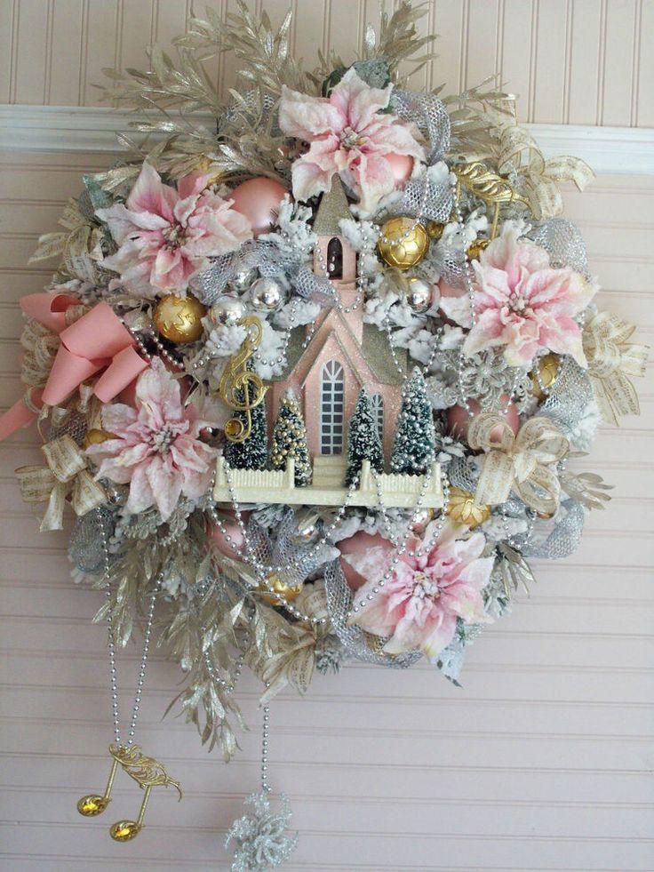 Shabby Pink Christmas Flocked Poinsettias Church Bottle Brush Trees Ornaments
