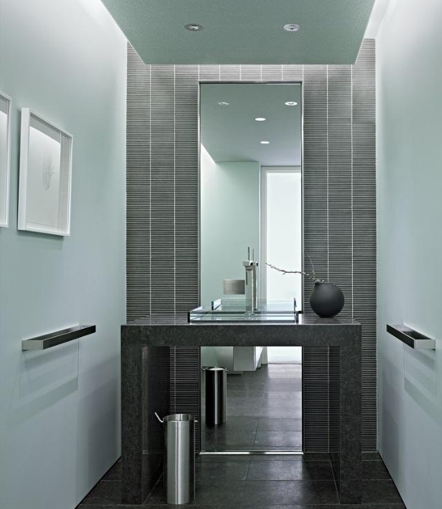 Half bath with full length mirror powder room pinterest - Full length bathroom wall mirror ...