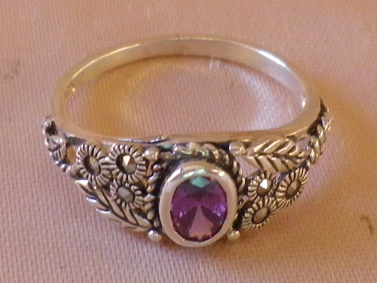 Vintage Sterling Silver Amethyst & Marcasite Ring Size 7 US and 9 1/2 UK and Aust by OleSilverShoppe on Etsy