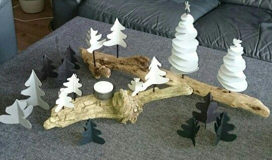 Juledekorasjon,  jul, bordpynt, telys, diy, papir, grillpinne, blomsterpinne, rekved. Christmas,  dekoration,  paper, drift wood