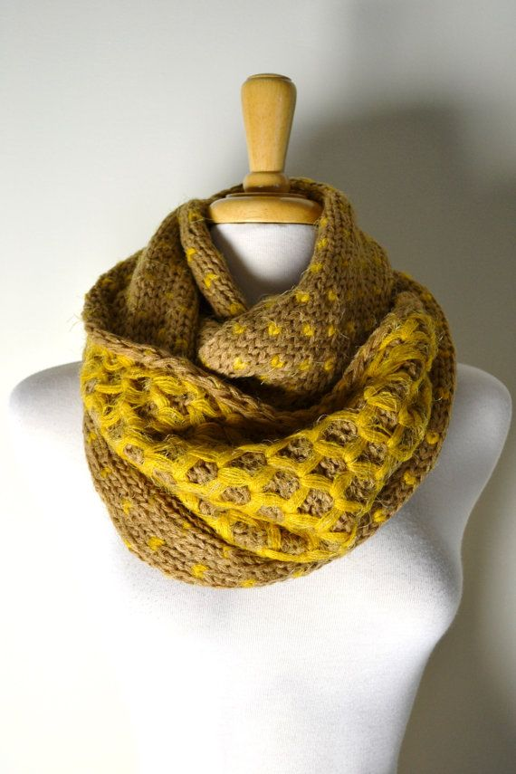 Mustard Yellow Chunky Knitted Woven Pattern, Double Sided ...