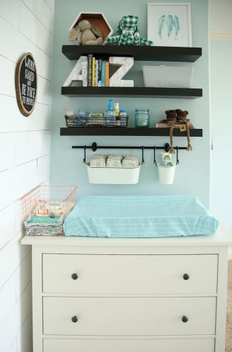 Styled Shelves and changing table in the Shared Master Bedroom and Nursery by Jill at Baby Rabies
