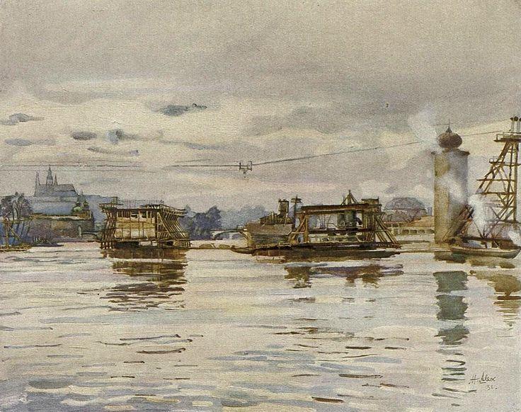 A. J. Alex - Zakládání pilířů Jiráskova mostu přes Vltavu v Praze (1935)