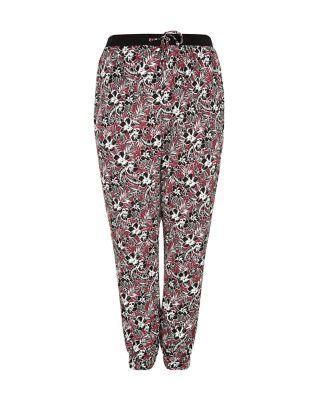 Plus Size Black Tropical Print Woven Trousers  | New Look