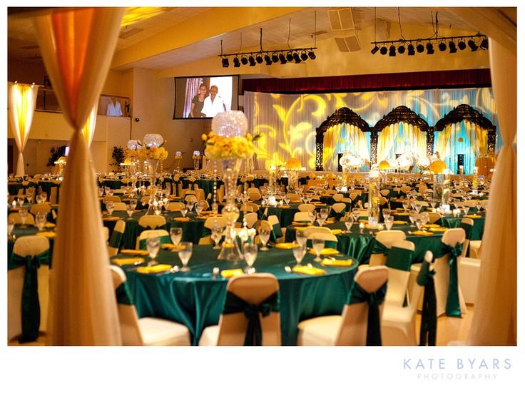 Wedding lighting and decor for an Indian wedding at the India Cultural Center in Tampa, Florida.