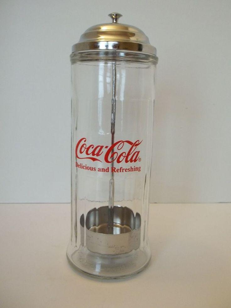COCA COLA GLASS DRINKING STRAW DISPENSER WITH METAL LID, RETRO STORAGE JAR #CocaCola