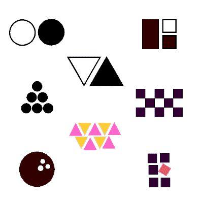 Use circles, squares, triangles to build logo designs.