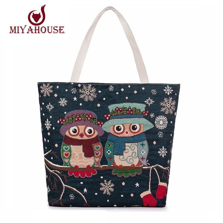 Miyahouse Hot Sale Women Canvas Bag Cute Owl Printed Tote Female Beach Bag Large Capacity Shoulder Shopping Bags Floral Handbag
