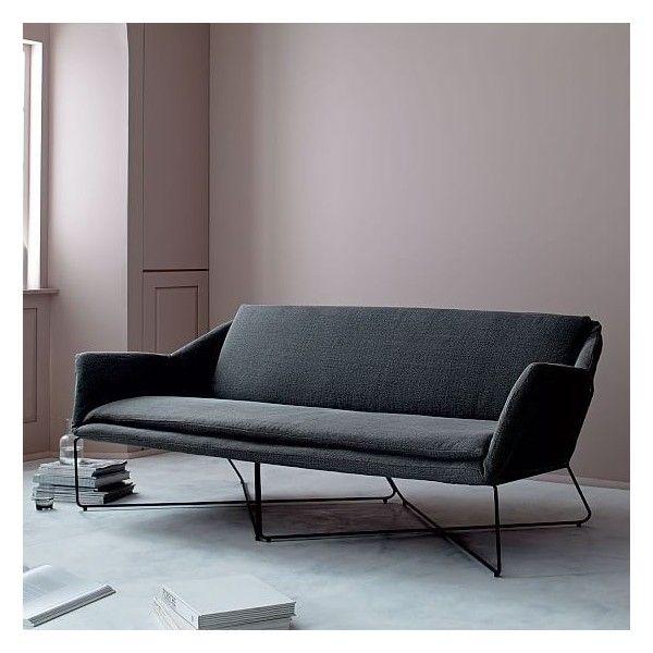 west elm origami sofa heavy stonewash print black gunmetal liked on polyvore featuring home furniture sofas dark grey couch dark gray