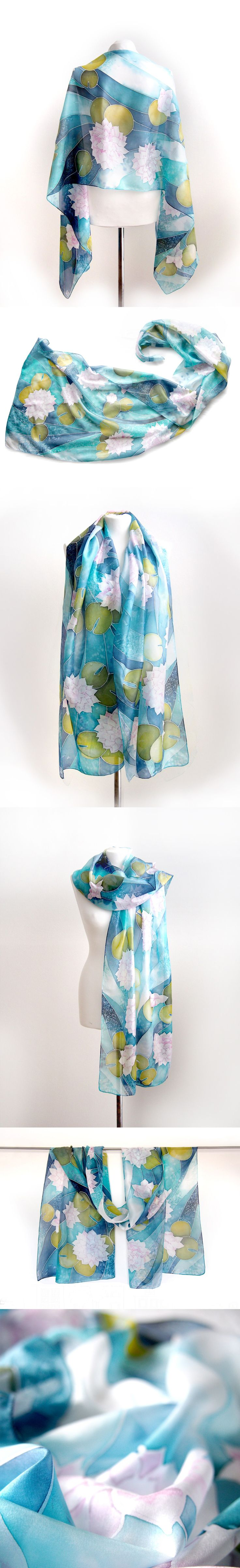 #hand #painted #silk #scarf by #malinowska #minkulul with #teal #blue and #bright #pink #flowers