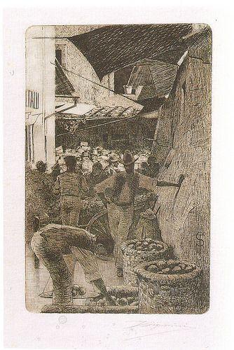 ... by Telemaco Signorini acquaforte, Via de' Pellicciai, 1874