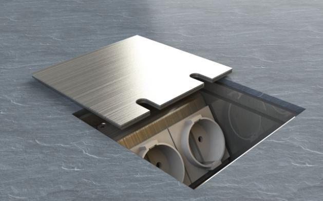 Bodensteckdose BS8802-E 1xSchuko 1xRJ45 2-fach mit Deckel zum Auflegen Bodensteckdosen | elektroland24.de Schalter Steckdosen Shop