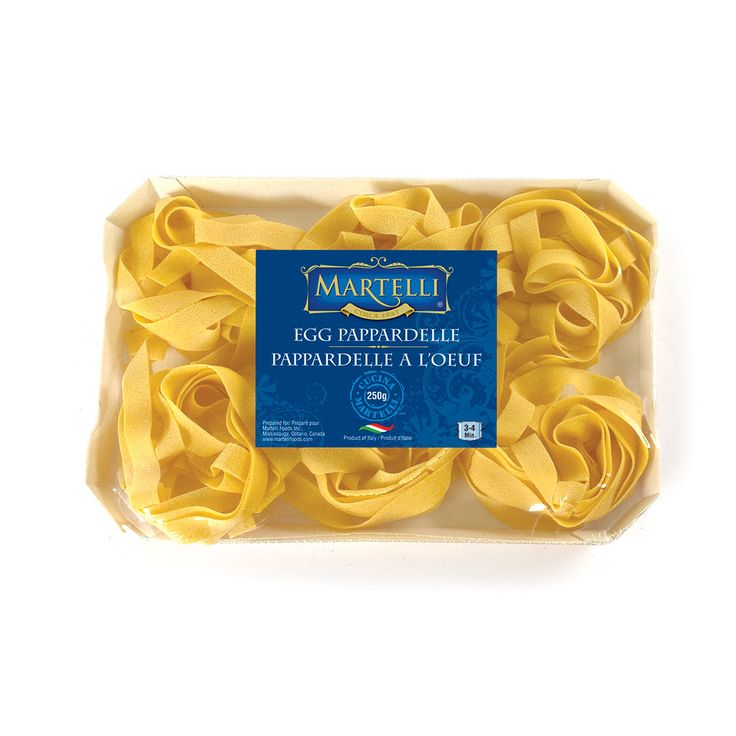 Made in the Emiliana Region, where egg pasta originated, Martelli Egg Pasta offers three cuts ideal for any sauce. This light versatile pasta can be served