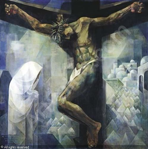 Crucifixion By Filipino National Artist Vicente Manansala Sacred Art Crucifixion Painting Modern Christian Art