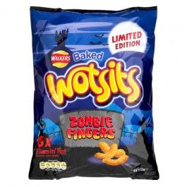 6 Packs of Wotsit Hot Zombie Fingers, spicy flavour corn puffs.