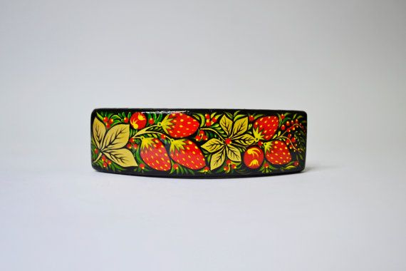 Wooden Barrette Handmade Hand painted Russian by IGORartPAINTING