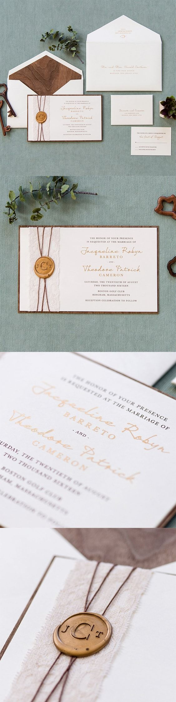 Rustic #Wedding #Invitation by @engagingpapers. Jacqueline integrates all the elements of rustic and sophistication. Based with real #walnut #wood features gold #metallic ink, #twine, 2″ ivory lace, and a custom #monogram gold #waxseal for the finishing touch.
