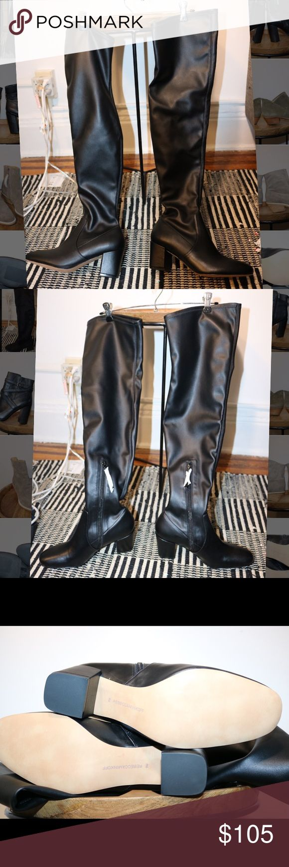 NWOT Rebecca Minkoff Faux Leather Over the Knee Brand new. Never worn outside of the store. Please note photos were taken with a high resolution camera so things that may look like flaws are just lighting and resolution. I disclose all issues within the item description. Rebecca Minkoff Shoes Over the Knee Boots
