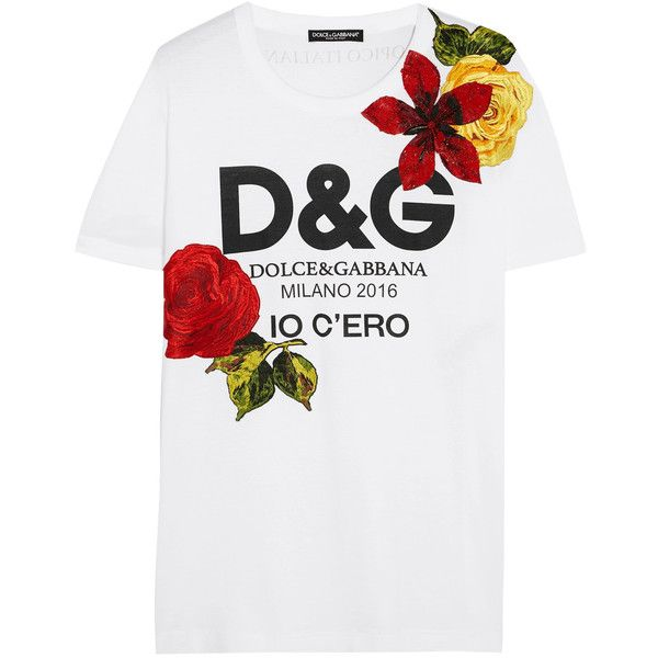 Dolce & Gabbana Embellished printed cotton-jersey T-shirt (5.175 RON) ❤ liked on Polyvore featuring tops, t-shirts, logo top, sequin tee, embellished top, cotton jersey t shirt and embellished t shirts