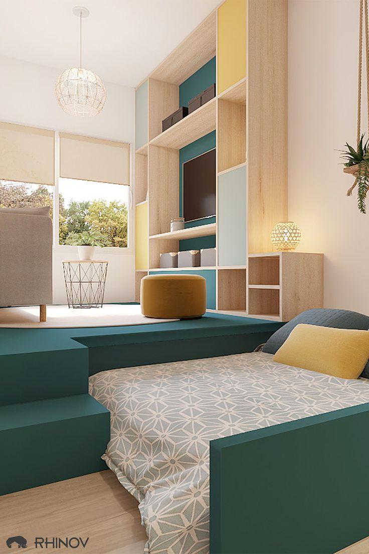 D couvrez le projet complet d 39 une chambre d 39 amis avec - Amenagement bureau chambre d amis ...