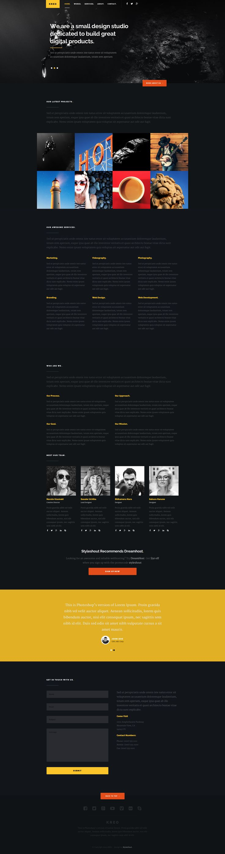 Kreo is a free HTML5 one page business website template for creative professionals, agencies or freelancers. It can also be used for small business websites. Kreo template features a modern and bold design, css animations, retina-ready design and working ajax form.