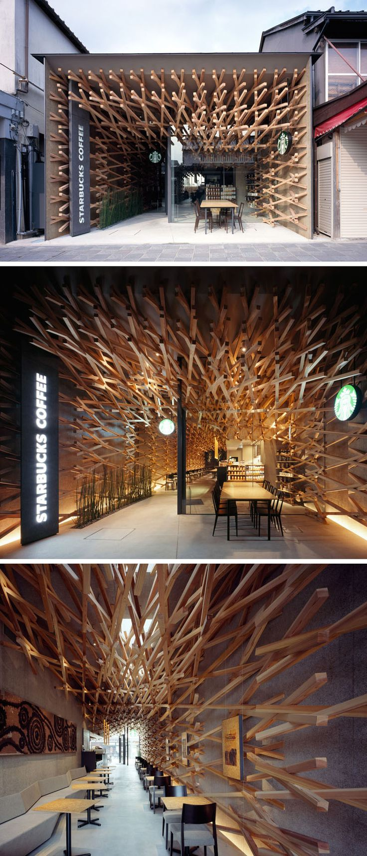 11 Starbucks Coffee Shops From Around The World // In an attempt to connect this Starbucks location to it's surroundings, interlocking wooden beams lead people from the streets deep into the shop. The wooden beams were also used in a nod to sustainability and recycling as they can easily be dismantled and used again somewhere else.