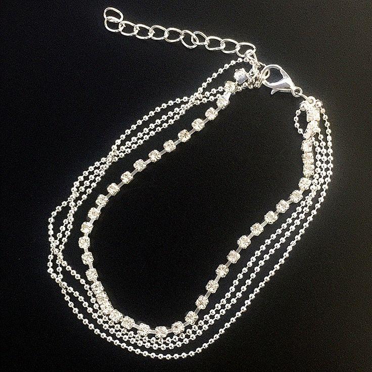 Crystal Rhinestone Charm Drop Ankle Chain Bracelet Anklet Wedding Jewelry ns242