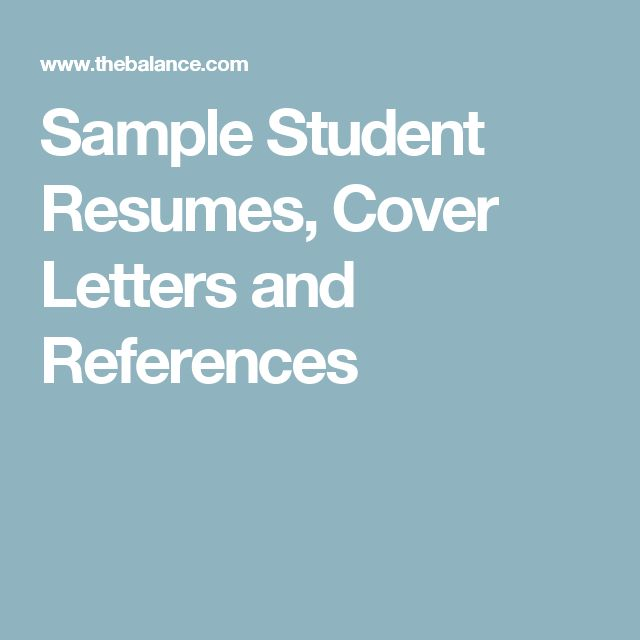 here are excellent sample resumes and letters for students