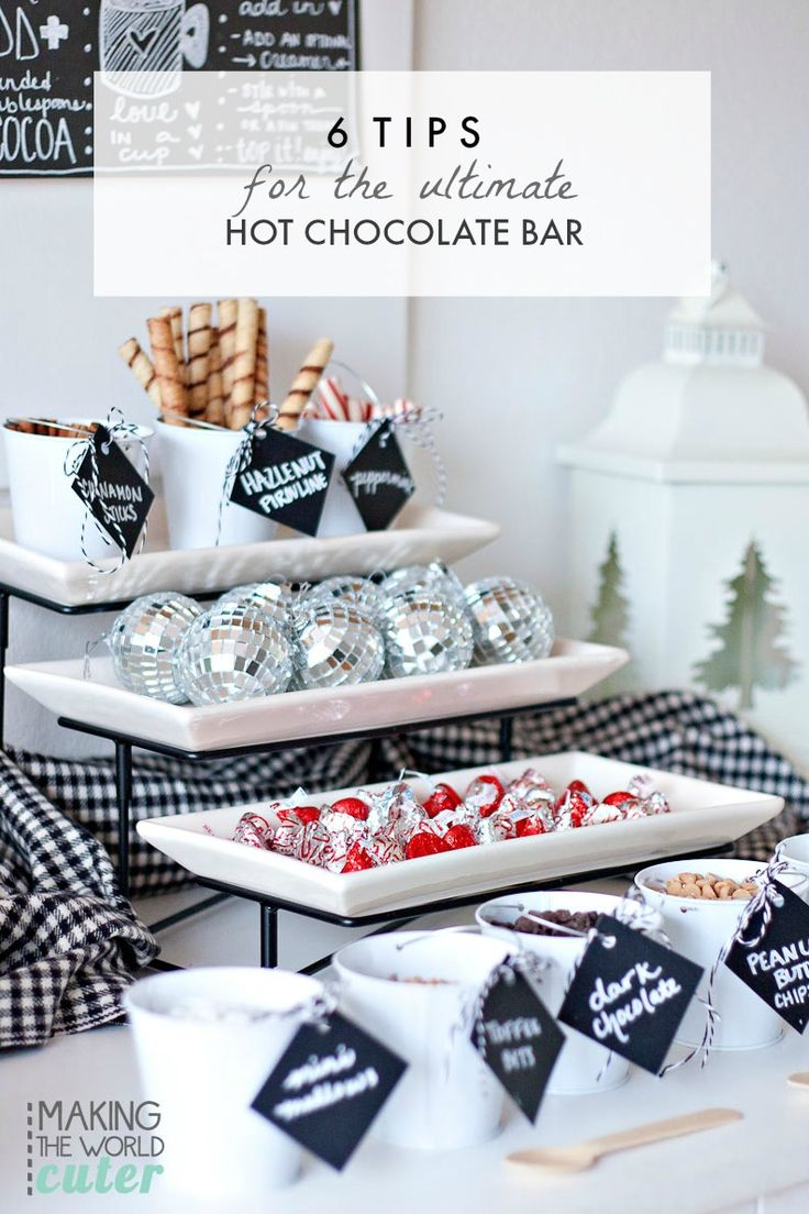 Create a hot cocoa bar this winter that is the talk of the town! These easy 6 Tips for the Ultimate Hot Chocolate Bar includes awesome topping ideas that will make your kids, friends, and guests smile!