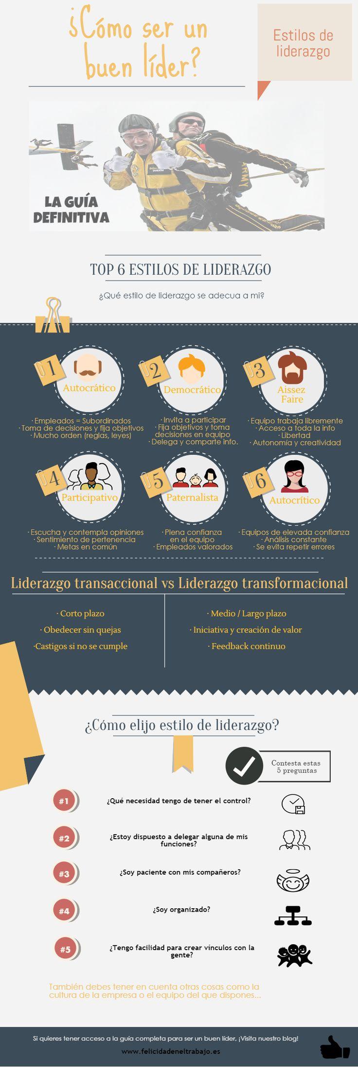 Estilos de Liderazgo: la guía definitiva #infografia #infographic #leadership