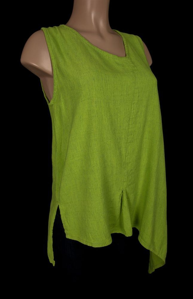 KALIYANA Tunic Top Size 2 M Medium Green Linen Blend Lagenlook Flare Art To Wear #Kaliyana #Tunic #Casual