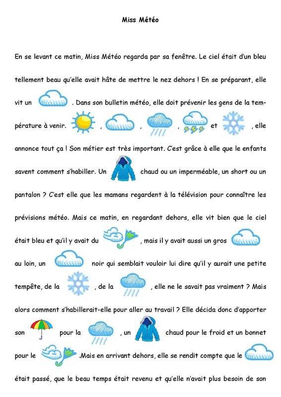 Thème de la météo : Petite histoire imagée niveau maternelle.