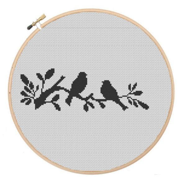 CR0023-Birds Silhouette (PDF, Instant Download, Cross Stitch Pattern) on Etsy, $5.02