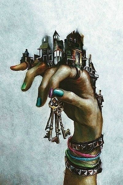 Fantasy Handscape - Great Example! Buildings ontop of your hand....bangles/ watches etc. Holding something?
