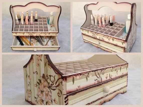 Big Nail Polish Organizer Wooden Storage Box by CLVLArtsBrazil