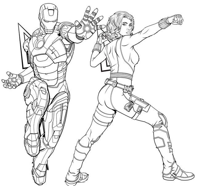 Iron Man And Black Widow Coloring Page Of Avengers Endgame In 2020 Avengers Coloring Avengers Characters Marvel Coloring