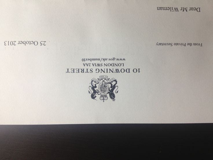 Received a congratulatory letter from No 10 Downing Street - what an honour!