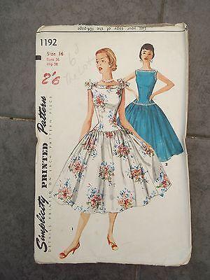 Vintage 1950's Simplicity sewing pattern Dress size 16   eBay